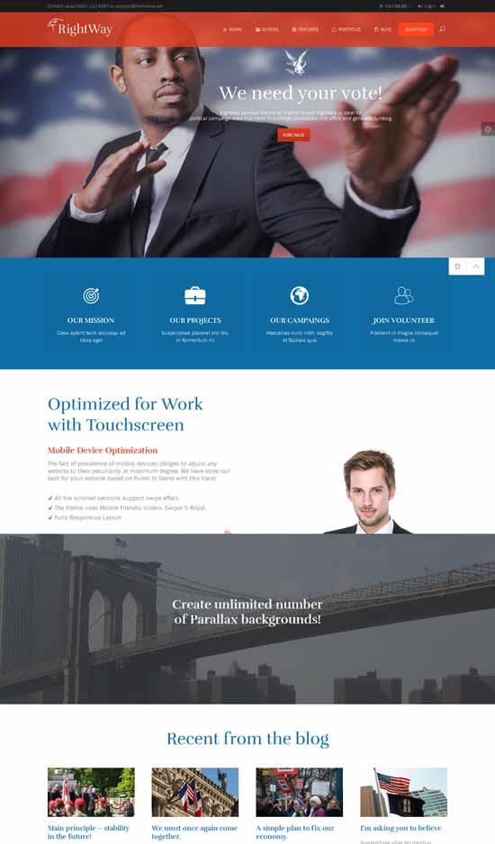 rigRIght Way modern political WordPress theme