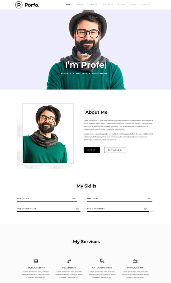 porfo personal resume wordpress