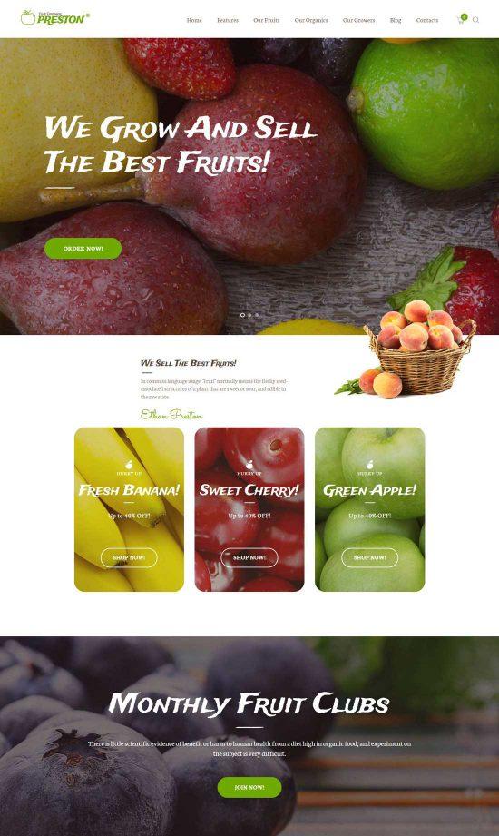 preston fruit company wordpress theme