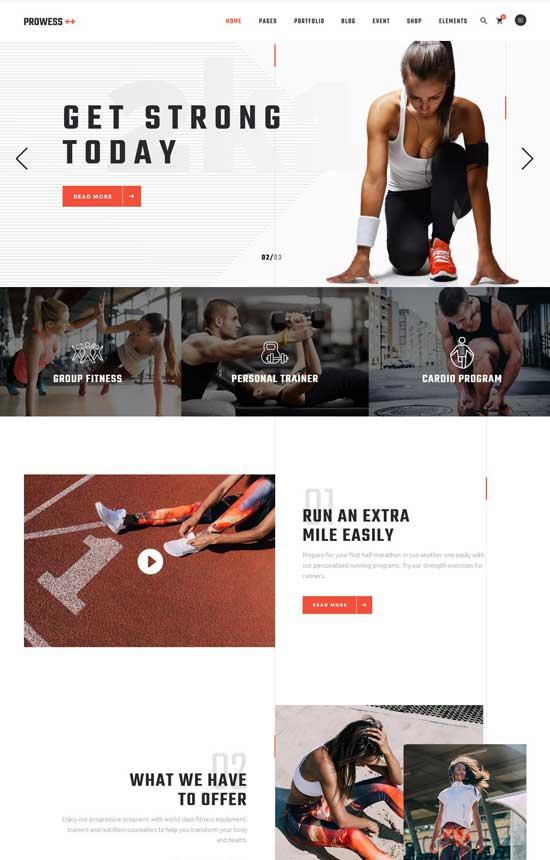 prowess fitness wordpress theme