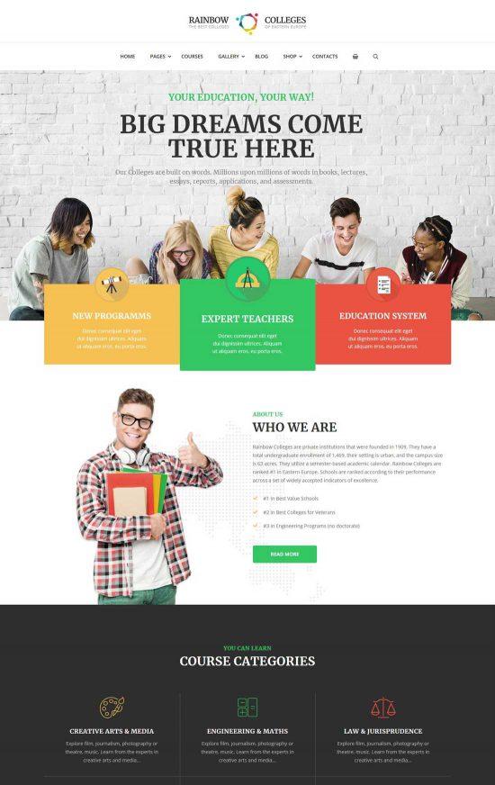 rainbow colleges e-course wordpress theme