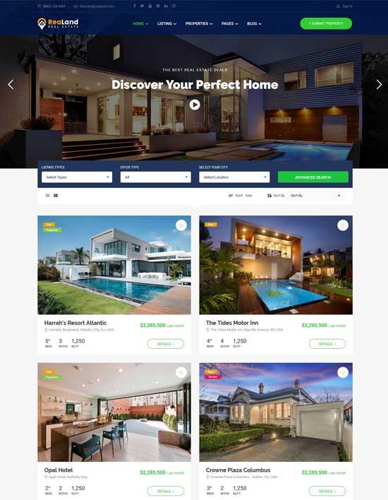 realand real estate responsive wordpress theme