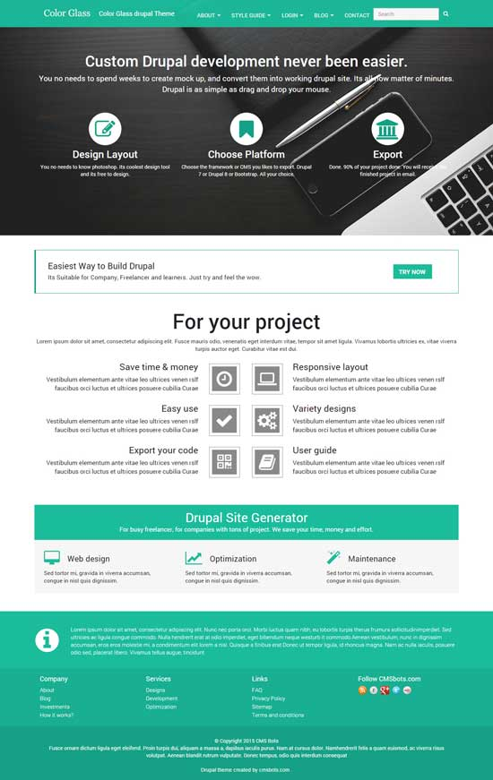Color Glass - free drupal theme