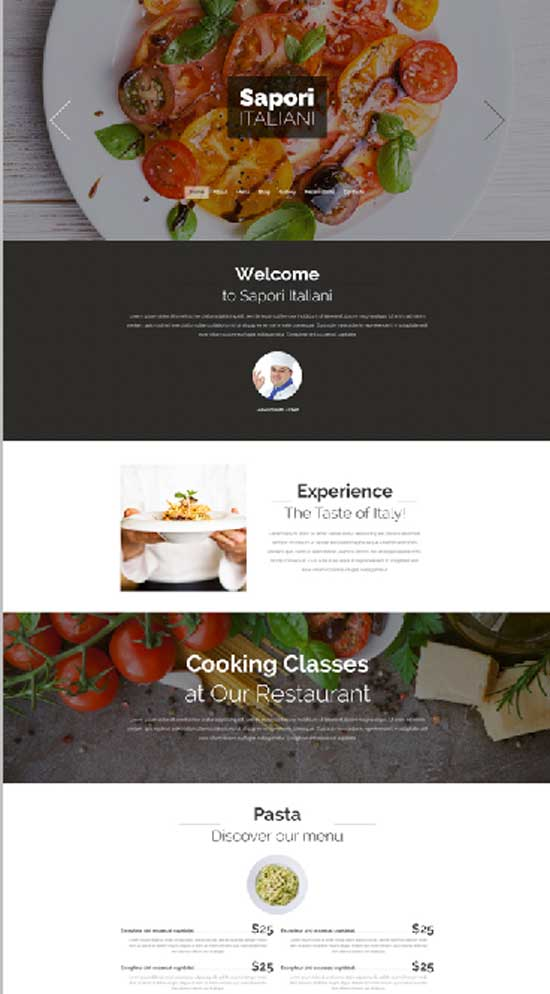 Sapori - responsive drupal theme for Restaurant