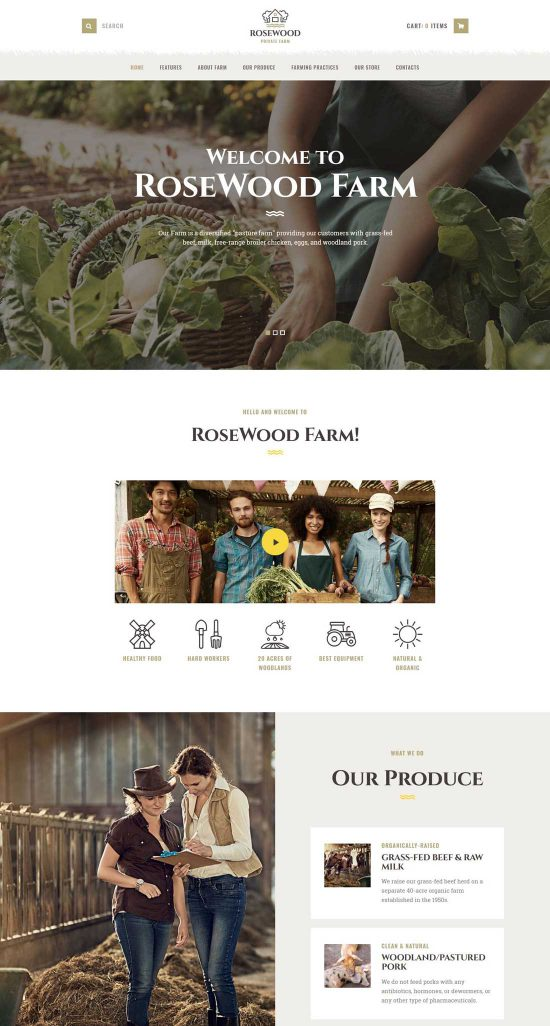 rosewood organic farming wp theme