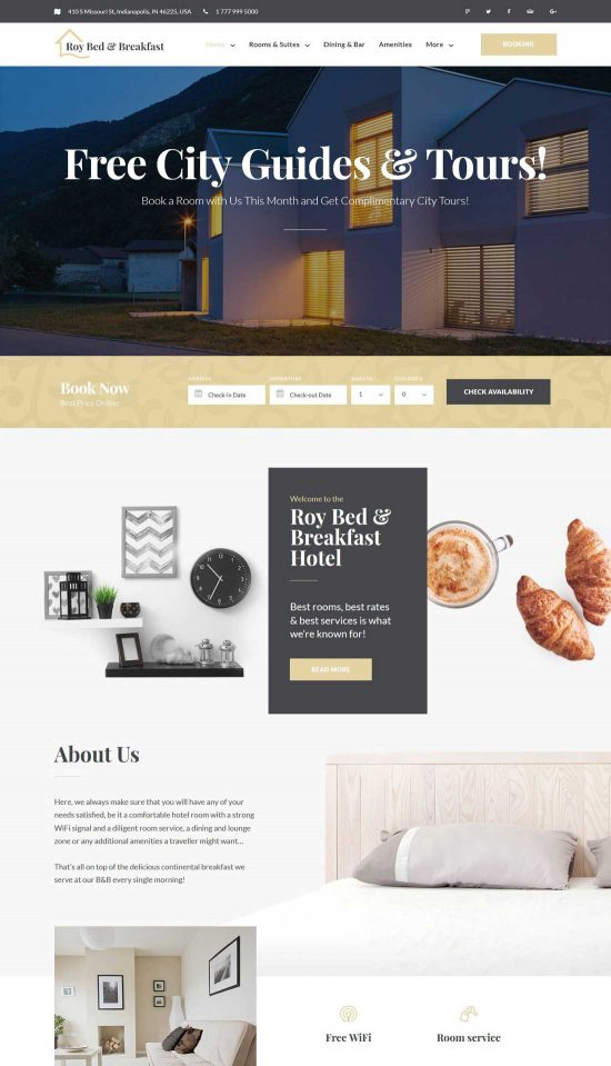 roy bed breakfast hotel wordpress theme