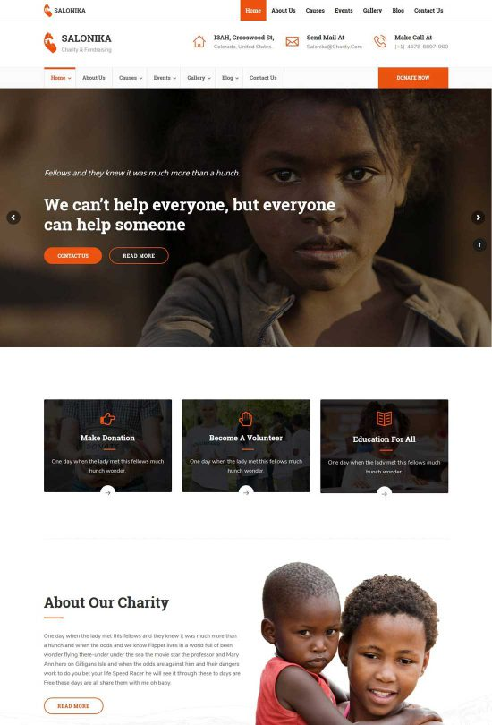 salonika charity wordpress theme