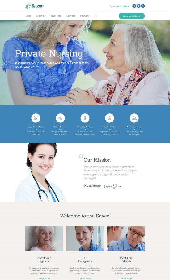 saveo care agency wp theme