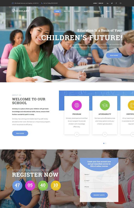 scholary primary school wordpress theme