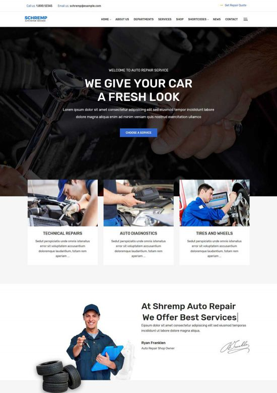 schremp auto repair theme