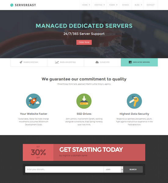 ServerEast - VPS WordPress hosting theme