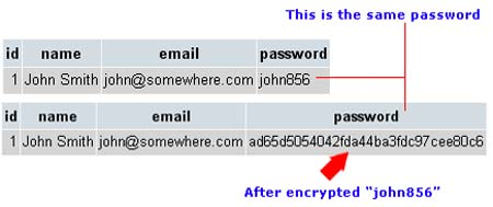Encrypting Password using md5() function