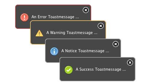 jQuery Toast Message Plugin