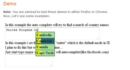 Implementing Autocomplete jQuery Plugin for Textarea