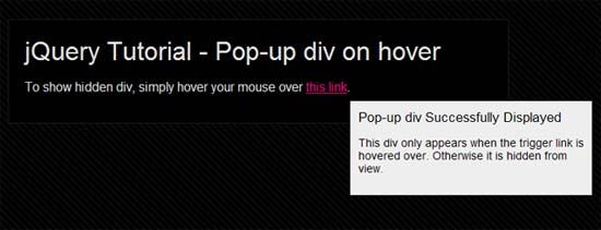 jQuery Pop-up div on hover