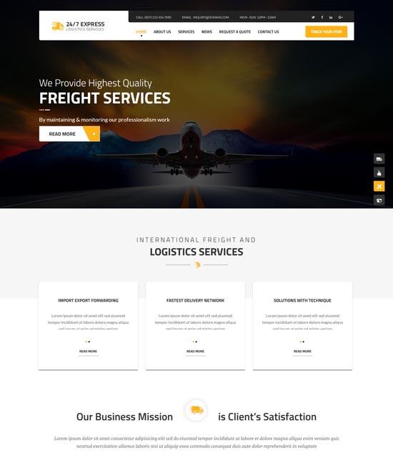 247 express logistics WordPress theme