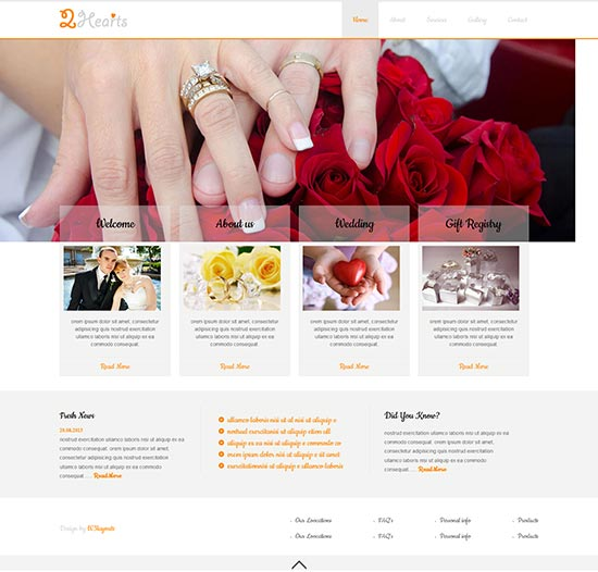 2Hearts wedding agency responsive template