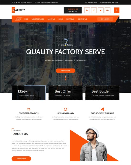 7factory industrial factory html template