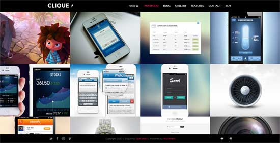 Clique AJAX Responsive Portfolio WordPress Theme
