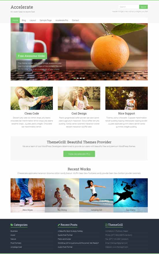 accelerate wordpress portfolio theme