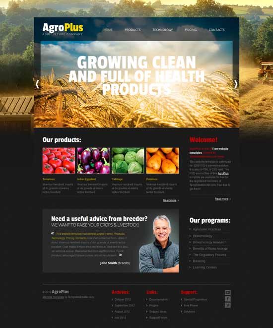 Agriculture-Free-Website-Template