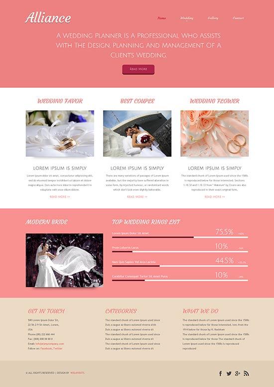 Alliance a wedding planner website template