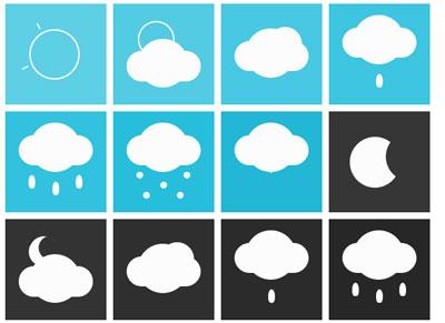 Animated-single-element-responsive-CSS-weather-icons