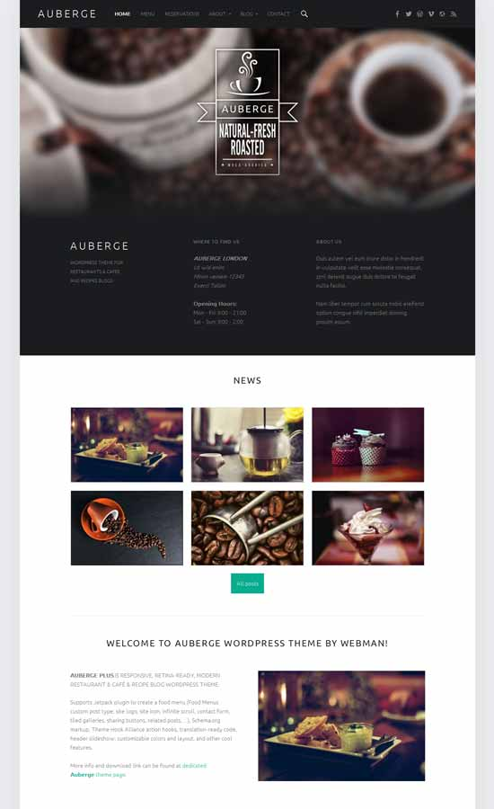 auberge wordpress cafe theme