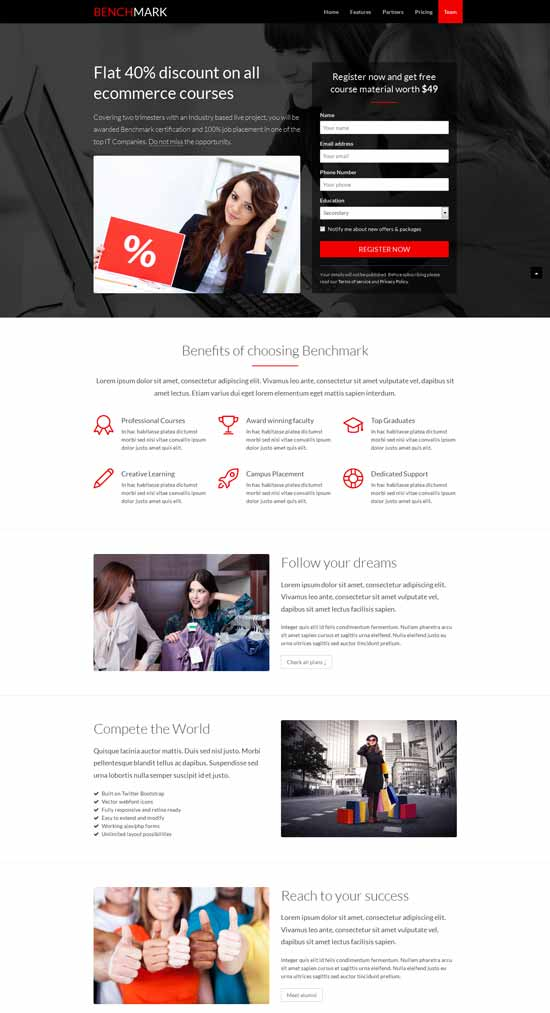 Benchmark-landing-page-template