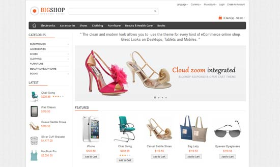 Bigshop clean and Fully Responsive opencart theme