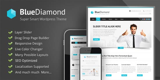 Blue-Diamond WordPress theme for consulting agency