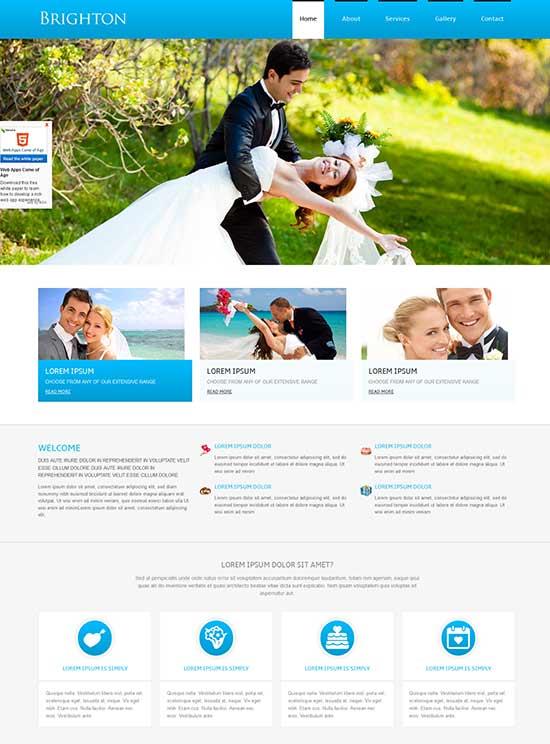 Brighton a wedding planner Responsive Website Template