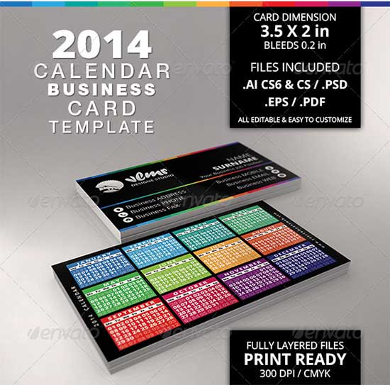 Business Card With 2014 Calendar