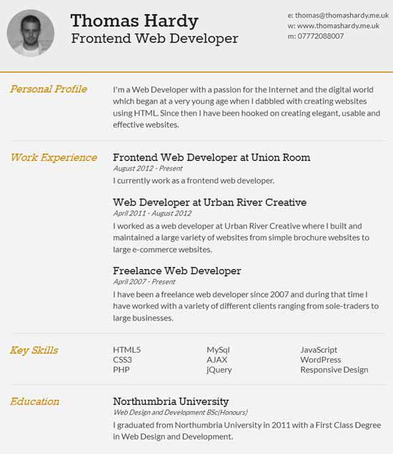 Free Responsive HTML/CSS3 CV Template