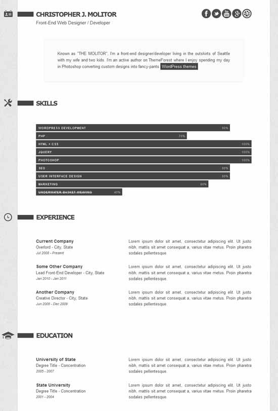 The Applicant: Resume / CV HTML
