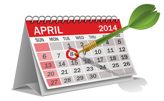 Calendar 2014 April Cartoon Vector