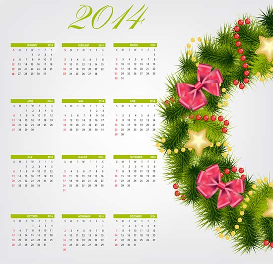 Free Calendar 2014 Christmas Wreath Vector