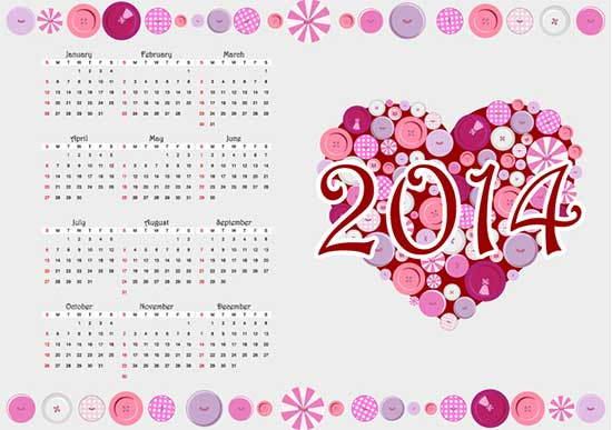 Free Calendar 2014 Heart Button Vector