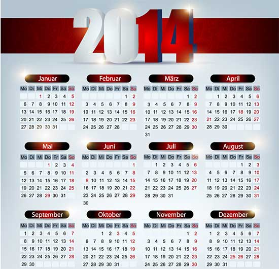 Free Calendar 2014 Simple Red Vector