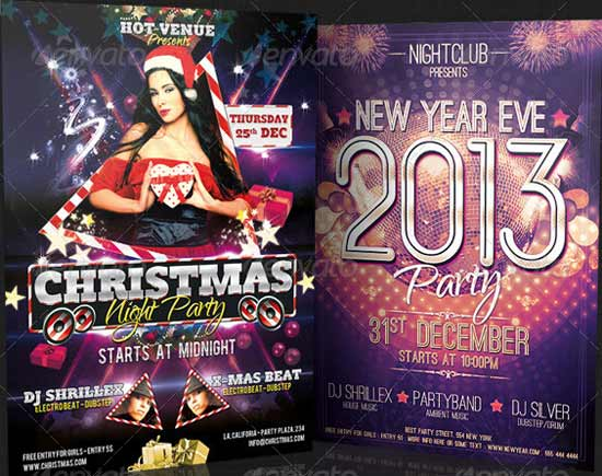 Christmas Night & New Year Eve Party Flyer Bundle