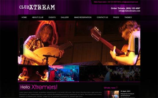 Free night club css website template