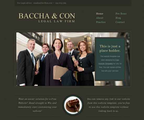 Baccha & Con free Legal Law Firm website template