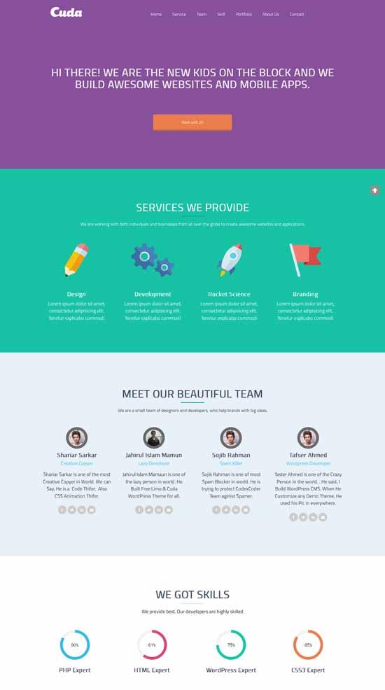 Cuda-Free-One-Page-WordPress-Theme