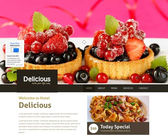 Delicious - Free Restaurant HTML5 Website Template