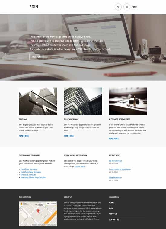 edin wordpress corporate theme