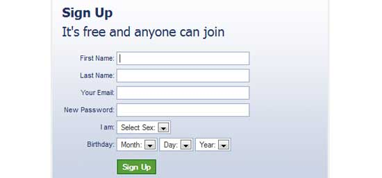 Facebook-like jQuery Registration form