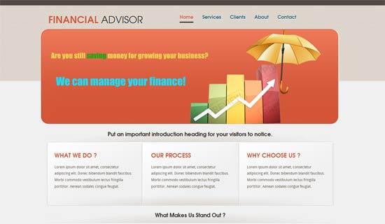 free Financial Advisor website template