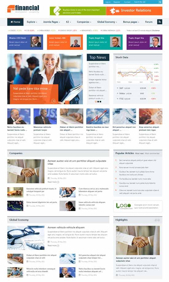 Financial-Responsive-Joomla-News-Template
