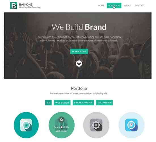 Flat Style Single Page Website Design Template PSD