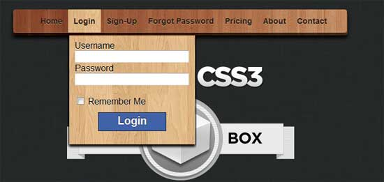 FormBox – A jQuery & CSS3 Drop-Down Menu